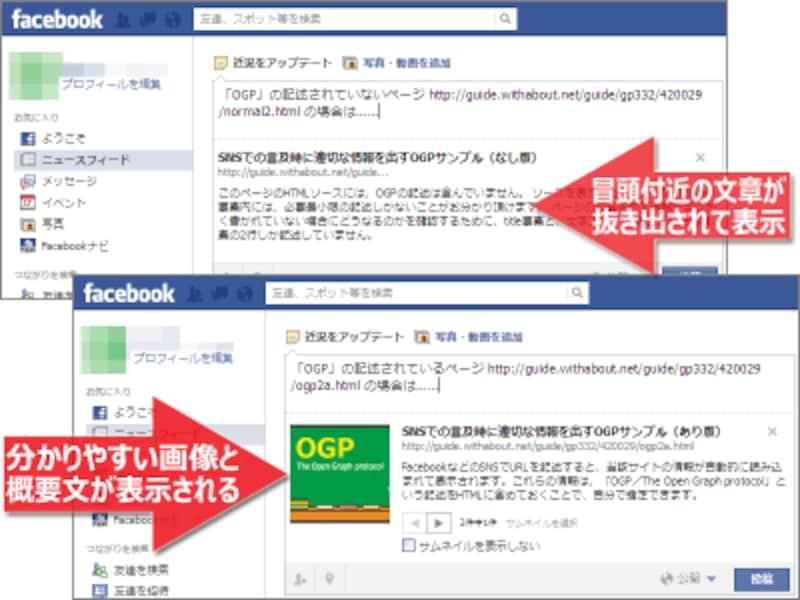 OGPがない場合(上側)と、OGPを記述した場合(下側)では、SNSで言及された際の見栄えや掲載内容が異なる。