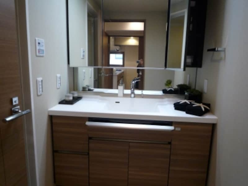 ポケット収納や掃除が楽なボウル一体型カウンターなどが特徴の洗面化粧台もオリジナル設備だ