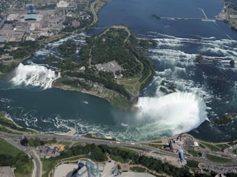 ナイアガラの滝はアメリカ滝(左)とカナダ滝(右)の2つ(C)TourismOntario