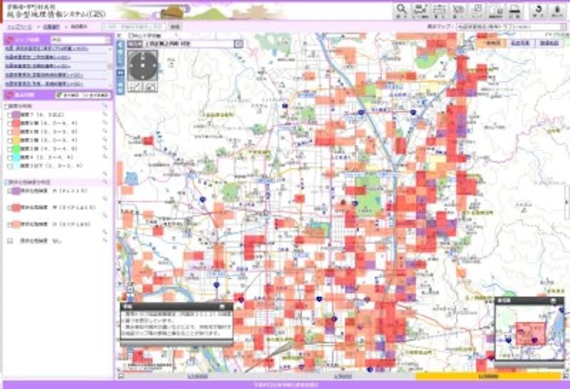 【図3】京都府庁のある上京区藪之内町付近の液状化危険度分布図(京都府・市町村共同統合型地理情報システム(GIS))