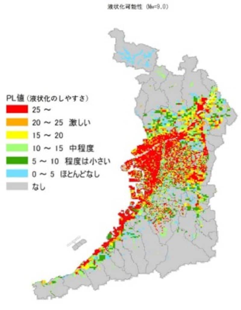 【図1】南海トラフにおいて発生する可能性のある最大級の地震を想定した時の大阪府の液状化可能性 クリックで拡大(出典:大阪府を元に作成)