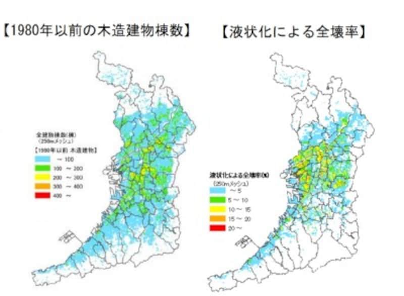 【図2】1980年以前の木造建物棟数と液状化による建物全壊率(出典:大阪府)