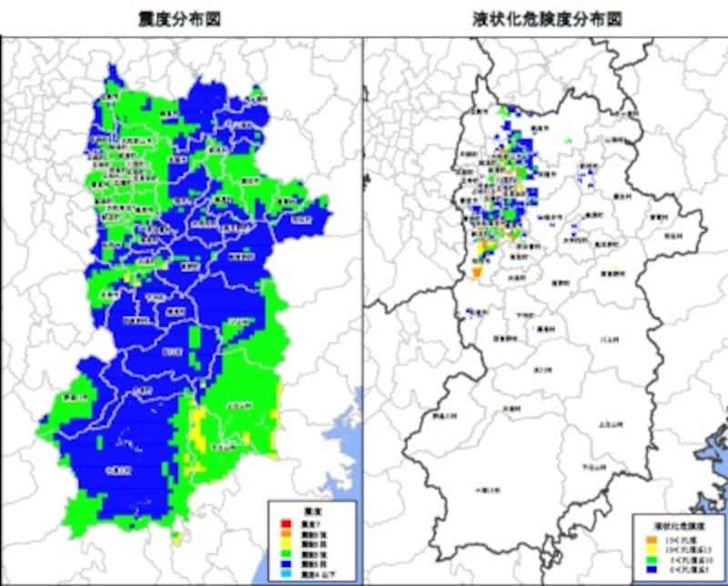 【図6】奈良県 東南海・南海地震同時発生時の震度分布図(左)と液状化危険度分布図(右)(出典:奈良県)