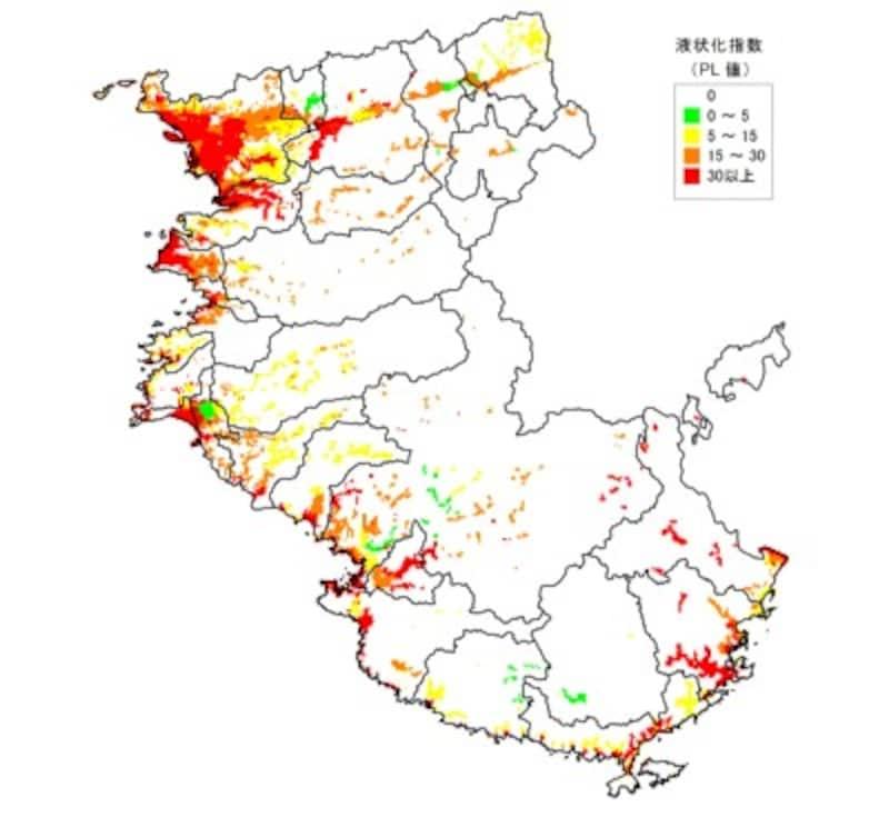 【図7】南海トラフ巨大地震発生時の液状化危険度予測図(出典:和歌山県地震被害想定調査報告書 H26年3月)