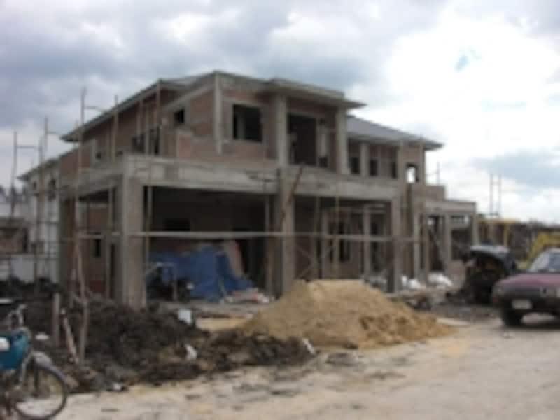 タイの一般的な住宅建設の風景