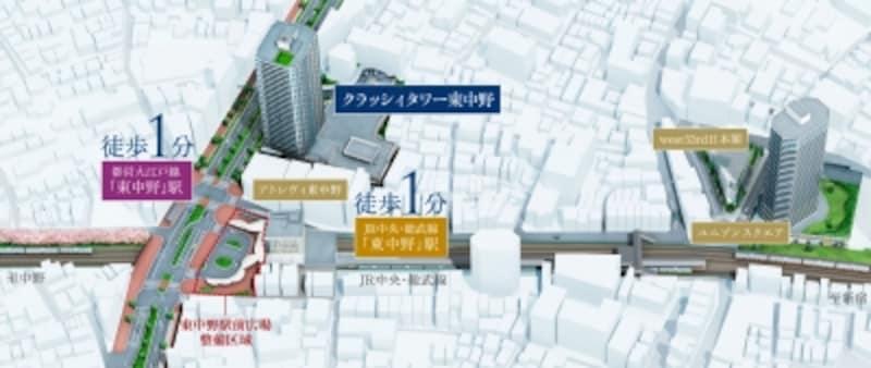 東中野駅前再開発完成予想図(※計画段階の図面を基に描き起こしたもので実際とは異なります)