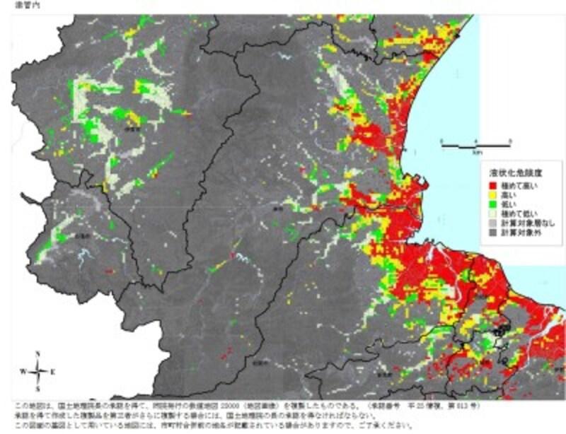 南海トラフ地震(過去最大クラス)が発生した時の津市の液状化危険度予測図(出典:三重県各種防災関連報告書)