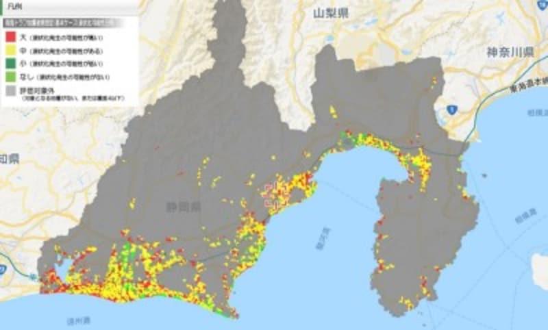 静岡県全域の液状化マップ(出典:静岡県第4次地震被害想定GIS)