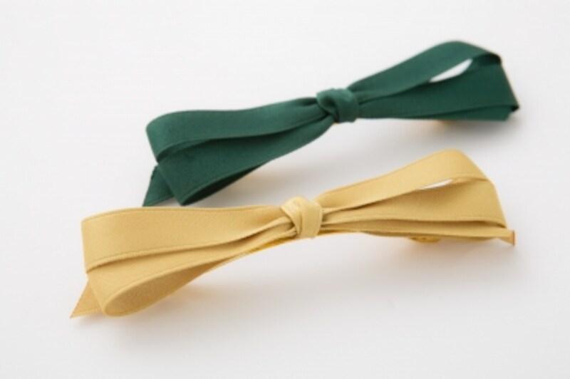 緑と黄色のリボンバレッタ