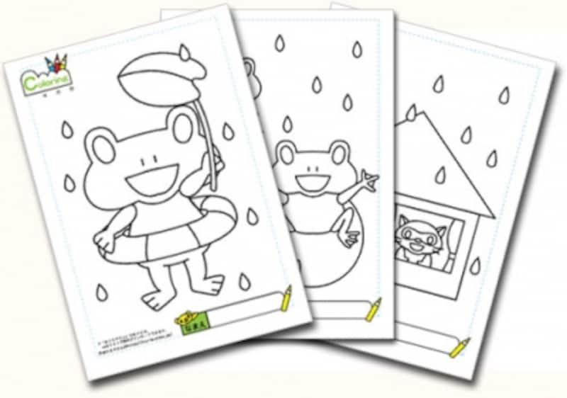 梅雨のぬりえを無料ダウンロードしよう 子供の絵画お絵かきぬりえ