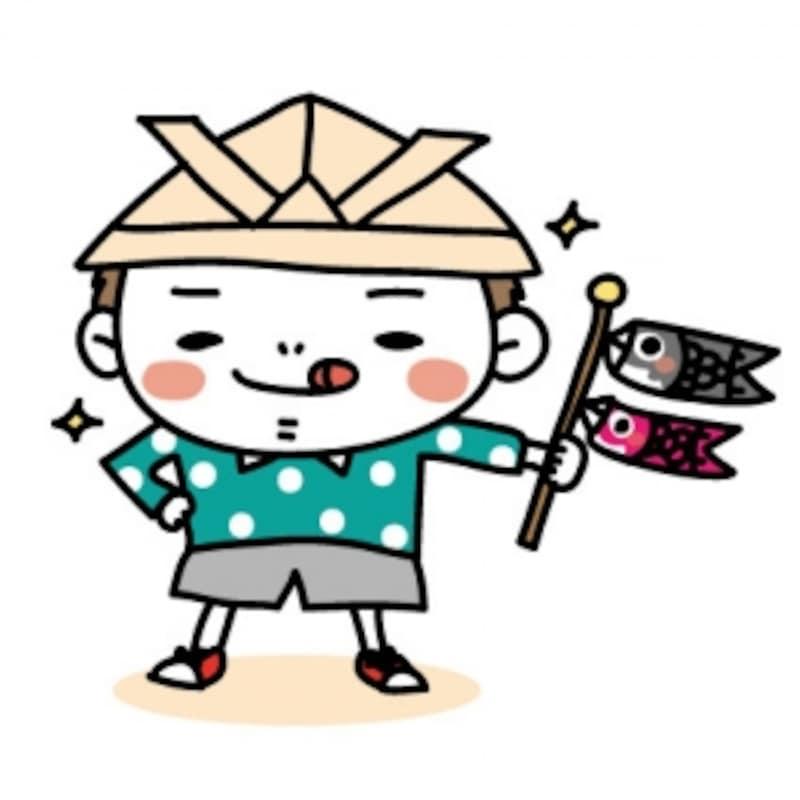 子どもとこいのぼり・鯉のぼりのフリー(無料)イラスト
