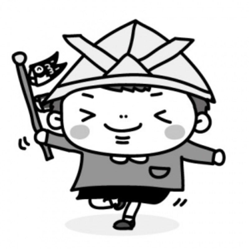 子どもとこいのぼり・鯉のぼりのフリー(無料)イラスト【白黒】