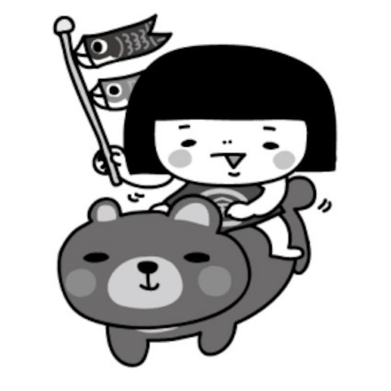 金太郎とこいのぼり・鯉のぼりのフリー(無料)イラスト【白黒】