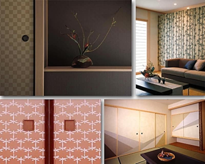 上:ゴールドの市松模様や笹柄の襖なら品のいいアクセントになる(リリカラ)下:ピンクの麻亀甲でカワイイ和室に、幾何学模様はモダンなラインを作る(キシモト)