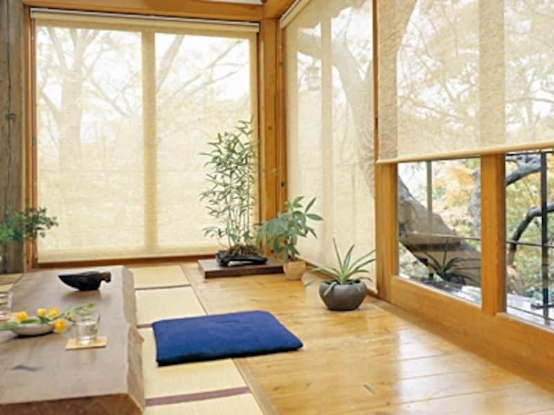 障子の代わりにスダレ調の優しいロールスクリーンを取り付ければ、軽やかに明るい和室になる(タチカワブラインド)