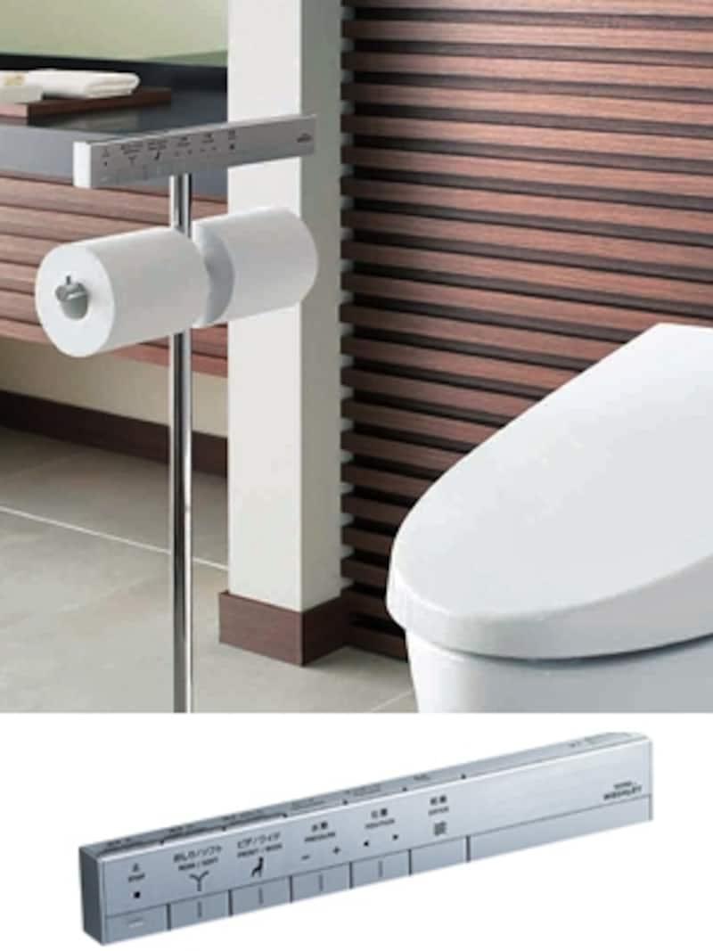 スリムでシャープなデザインのネオレストシリーズのスティックリモコン。モダンなトイレ空間に(TOTO)