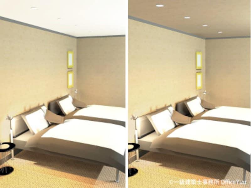 寝室の天井クロス 茶色