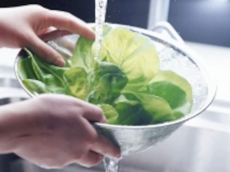 野菜を洗う