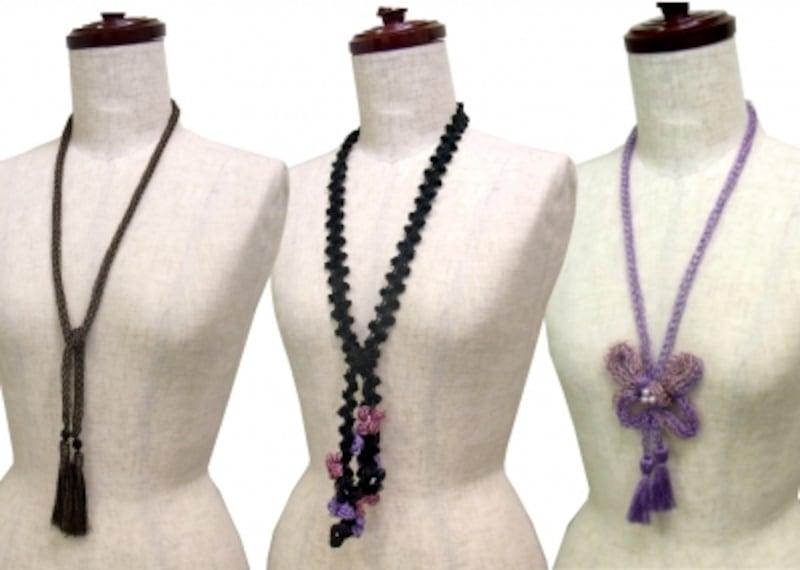 ラメ糸のリリアン編みネックレス