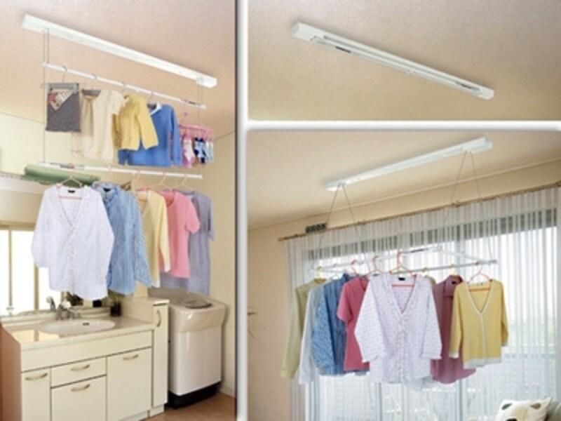 部屋干しユニットを洗濯機のそばに取り付けておけば、洗濯機から出してすぐその場で干せる(ルームハンガー/洗濯物の部屋干しの悩み解消リフォームより)