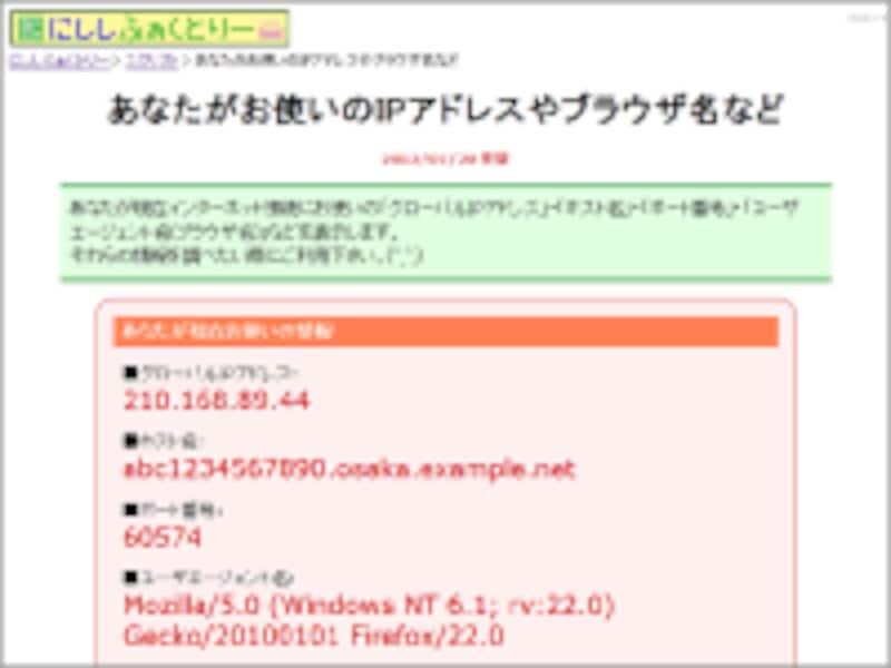 今、ネット接続に利用しているIPアドレスやホスト名を表示してくれるページの例