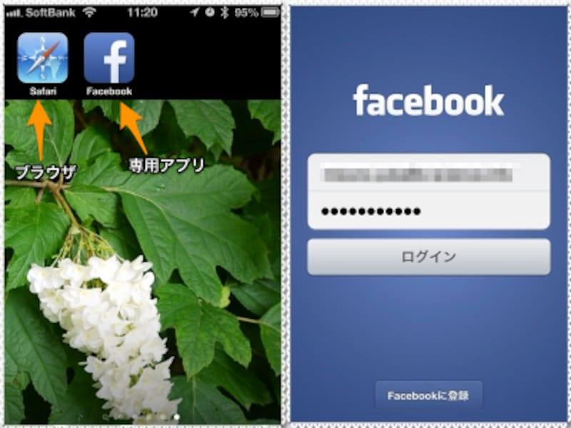 (左)iPhoneでは標準ブラウザの[Safari]がありますが、それ以外のブラウザでも利用できます。専用アプリならFacebookにすぐにアクセスできます。(右)どちらの方法でも、最初にメールアドレスとパスワードによるログインが必要です