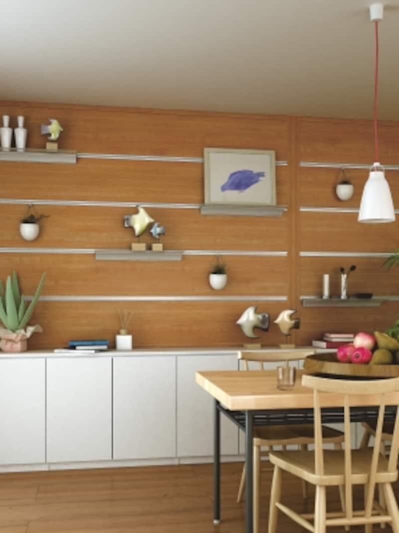 壁面をギャラリーと収納を兼ねたプラン。テレビを掛けることも可能。[ハピアベイシスハンギング収納undefinedハピアウォール機能タイプ]DAIKENhttp://www.daiken.jp/