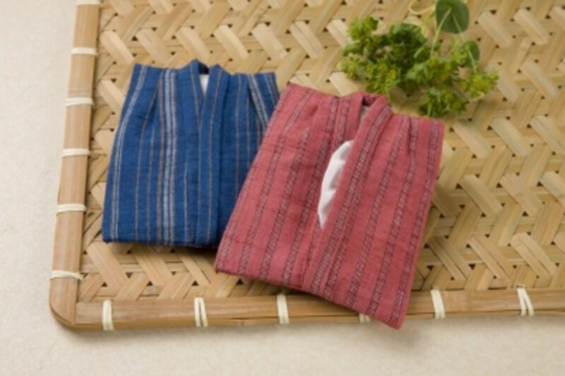 会津木綿で作った着物形ポケットティッシュケース。作品undefined佐々木文子