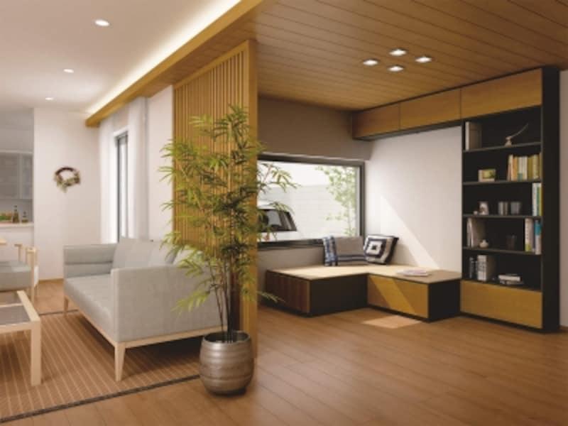 家族みんなで使えるライブラリー。壁面収納ユニットを上手に取り入れて。[ミセル]undefinedDAIKENundefinedhttp://www.daiken.jp/