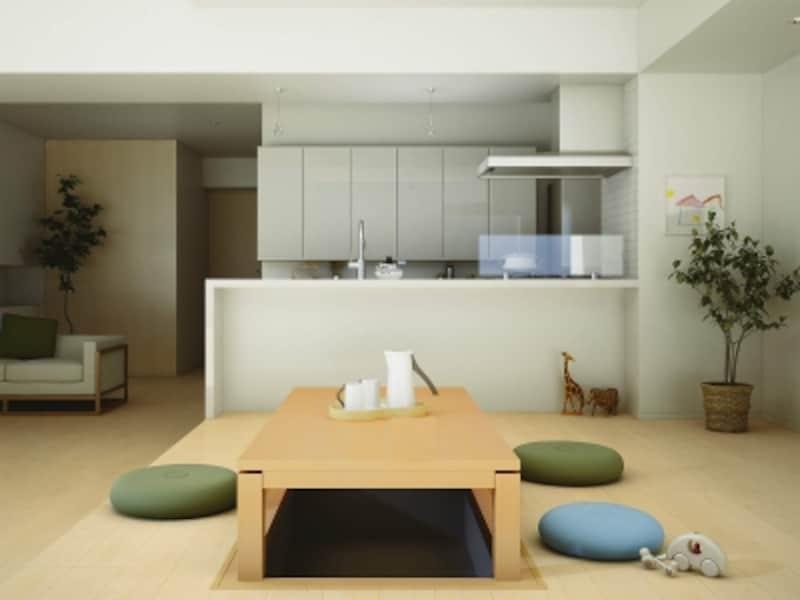 キッチンからも目の届く場所に掘りごたつを設けて集まりやすいダイニングスペース。[掘こたつ:座卓シリーズリーフスクウェア3×6尺〈メープル〉オールシーズンタイプ/床材:ハピアフロア銘木柄〈メープル柄〉]undefinedDAIKENundefinedhttp://www.daiken.jp/