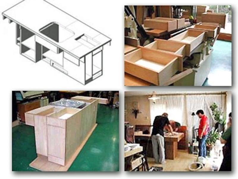 工房に通って制作。取り付けの際にはプロの手も借りて。コンロを使用するキッチンは内装制限があるので、法令や条例をよく確認することも大切。
