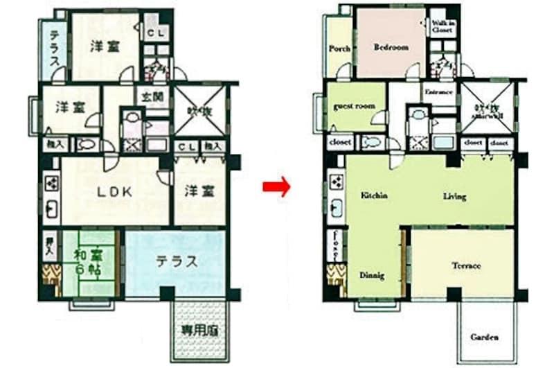 DIYリフォーム前と後の平面図。個室を確保しながら広々としたLDKに。