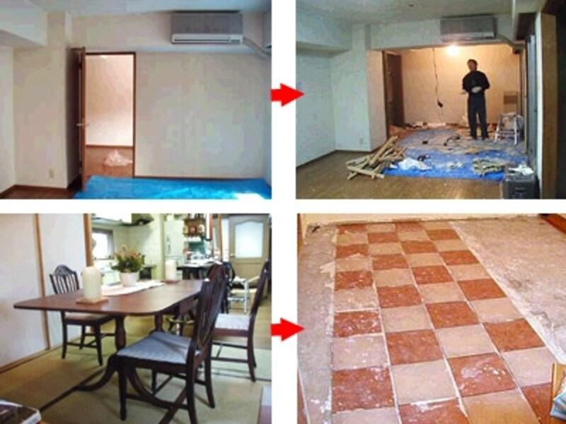 上:リビングと洋室にある間仕切り壁を撤去。下:畳を撤去しタイル張りに。マンションの場合は規約に準じた防音工事を。