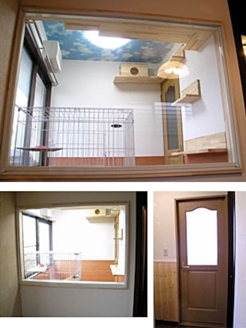 寝室の一角に作られた猫専用スペース。ドアはレバーハンドルだと飛びついて開けてしまうので鍵付き。