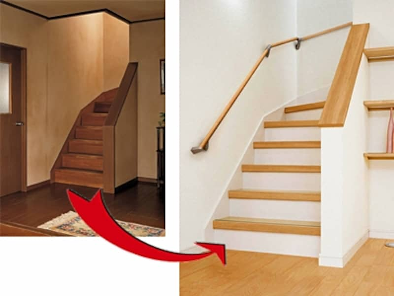 フローリングも階段も上から重ねて張るレイヤー工法でリフォームすれば手軽にリフレッシュ(パナソニック)