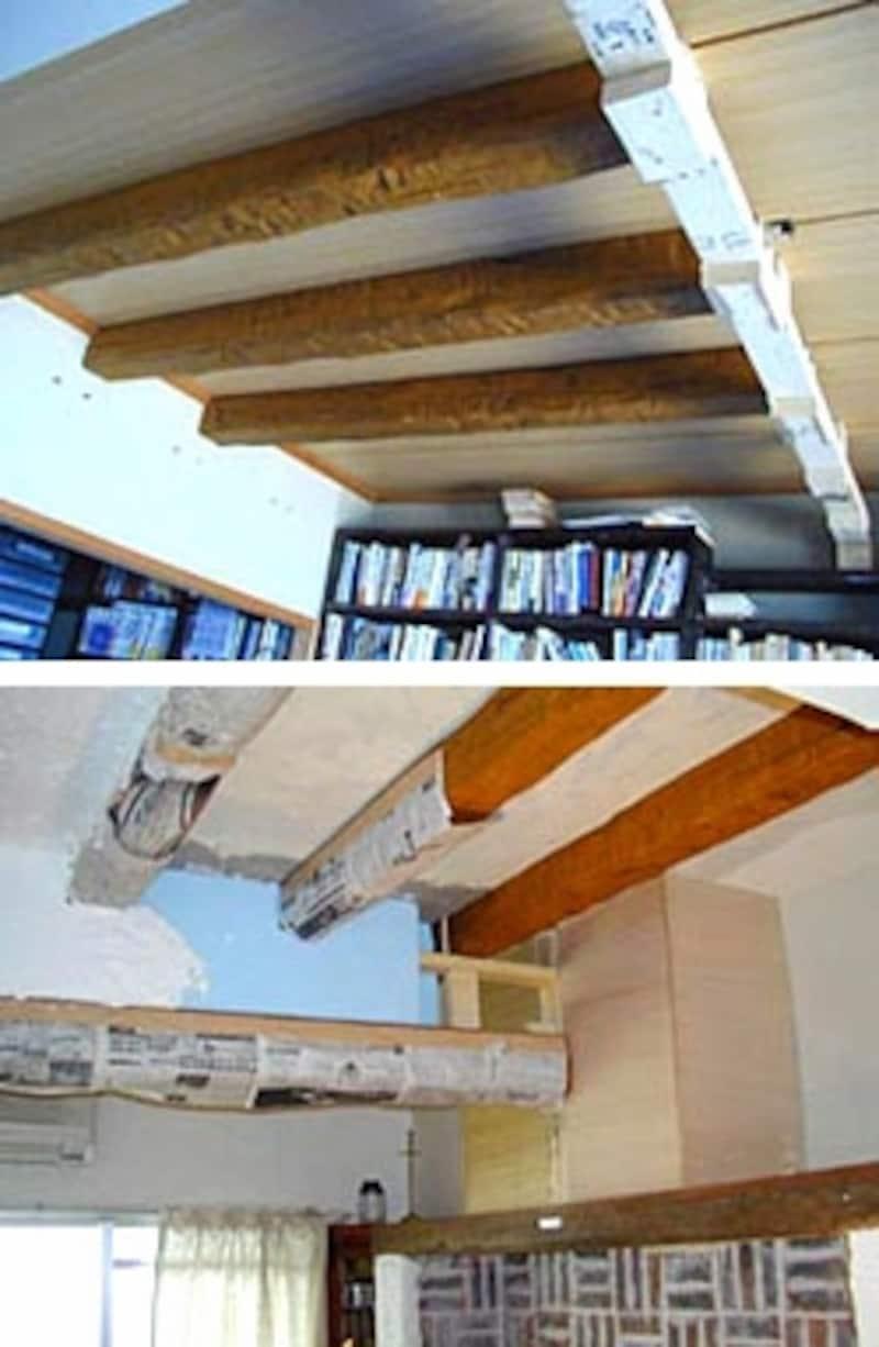 天井にポリウレタンの軽い疑似梁を取り付け、漆喰で埋めていく。