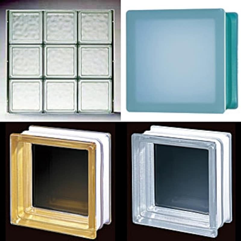 様々なデザイン・カラーが揃ったガラスブロック。左上は住宅用薄型パネルタイプ(日本電気硝子)
