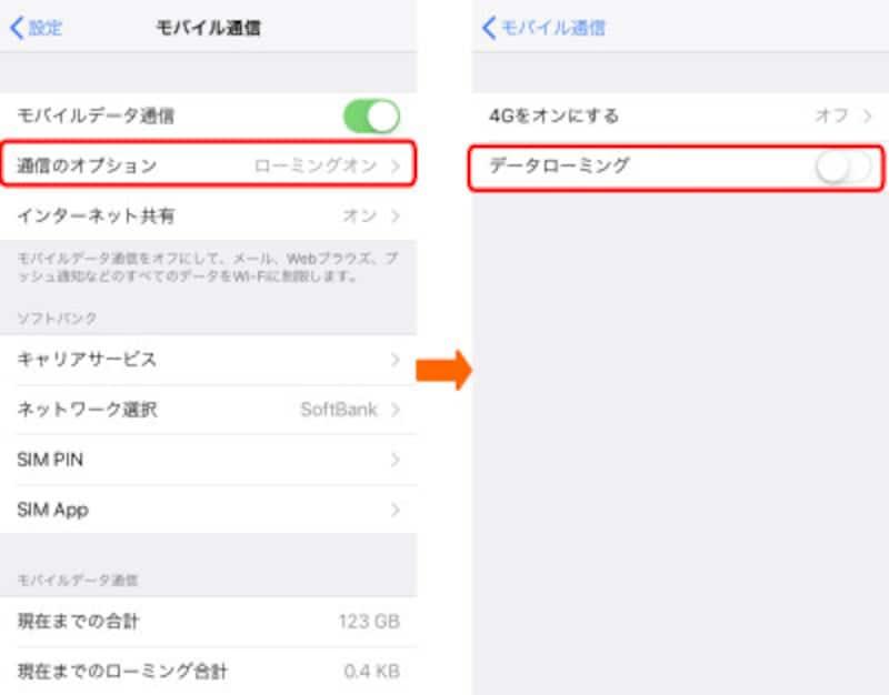 海外でiPhoneを使うときの設定画面