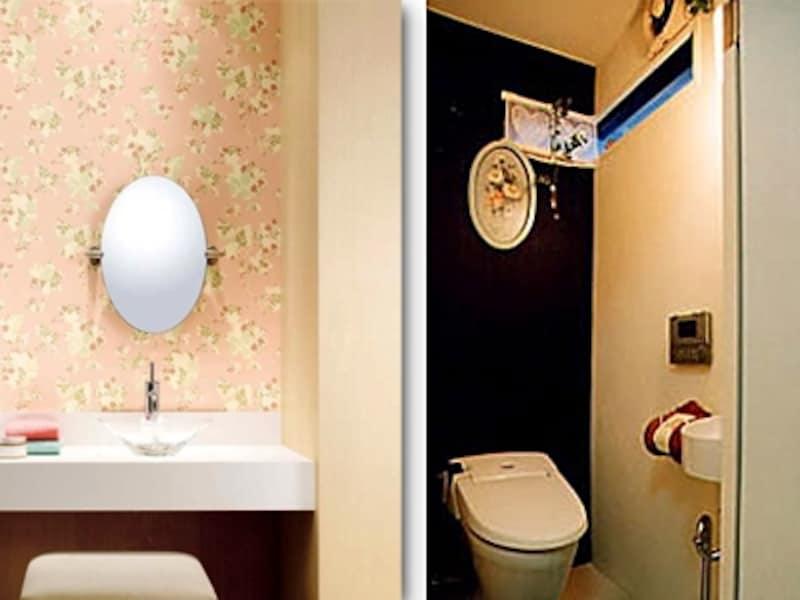 左:1面だけ花柄、残りをアイボリーの壁紙に貼り分けた水まわり(サンゲツ) 右:古い壁紙の上から塗装で色分けしたトイレ(村岡建築デザイン事務所)