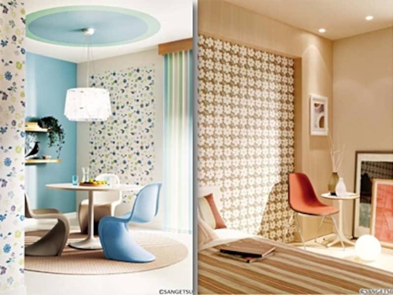 左:ベースの壁紙をホワイトに、アクセントにブルーと花柄で貼り分けたリビング 右:北欧らしい花柄と落ち着いたベージュまとめた寝室(サンゲツ)