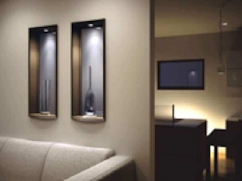 両方の部屋を明るくする室内窓もガラスによってイメージが大きく変わる(大建工業)