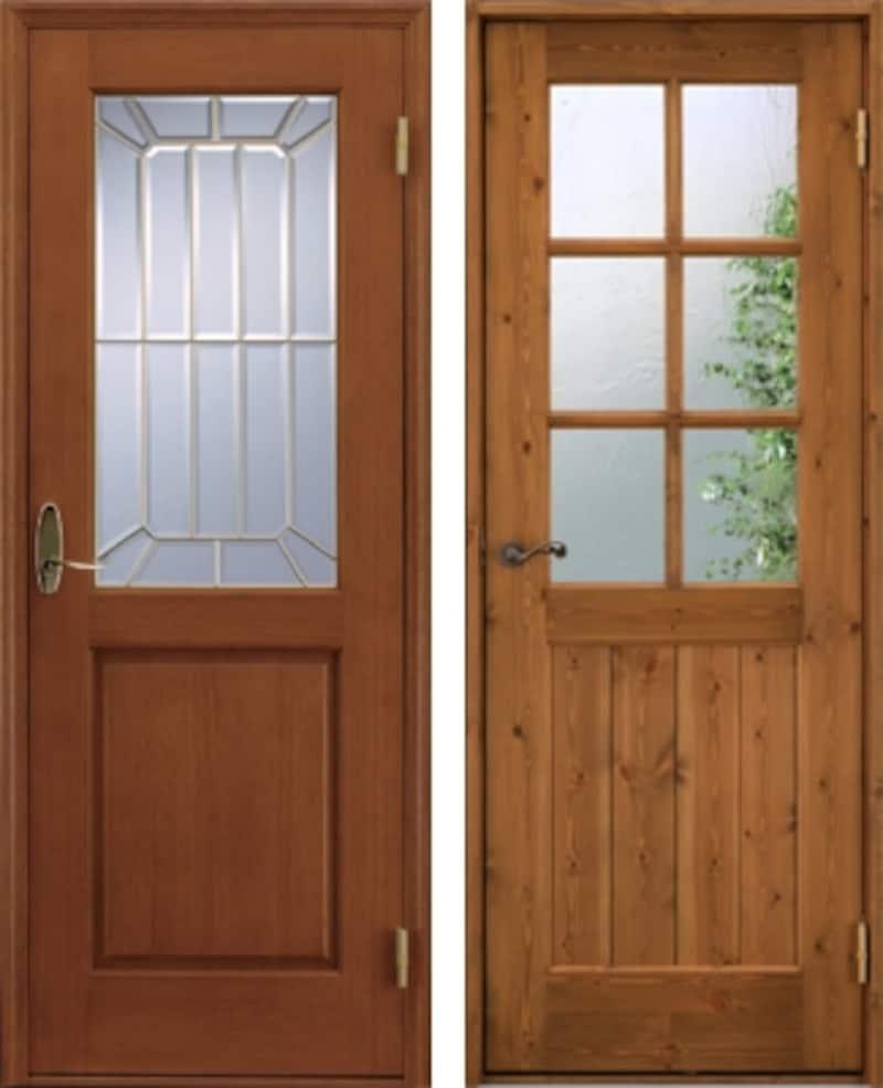 左:カットガラスの室内ドア 右:アンティークガラスの室内ドア(ユダ木工)
