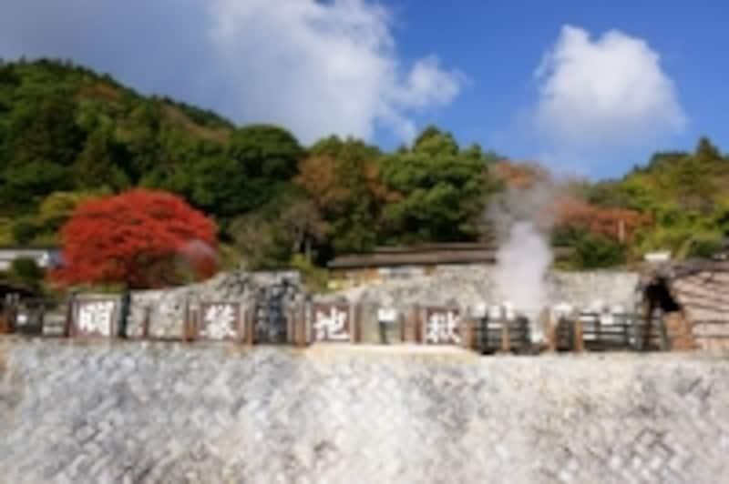 天然のみょうばんで有名な別府明礬(みょうばん)温泉