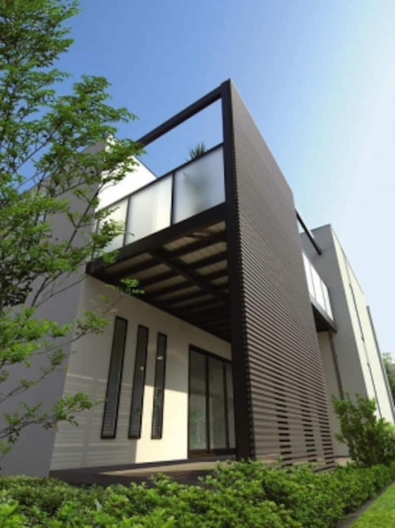 フレームと格子を組み合せて、敷地条件に適したバルコニー空間を実現できる。[大型空間バルコニーエアキューブ]undefinedYKKAPundefinedhttp://www.ykkap.co.jp/