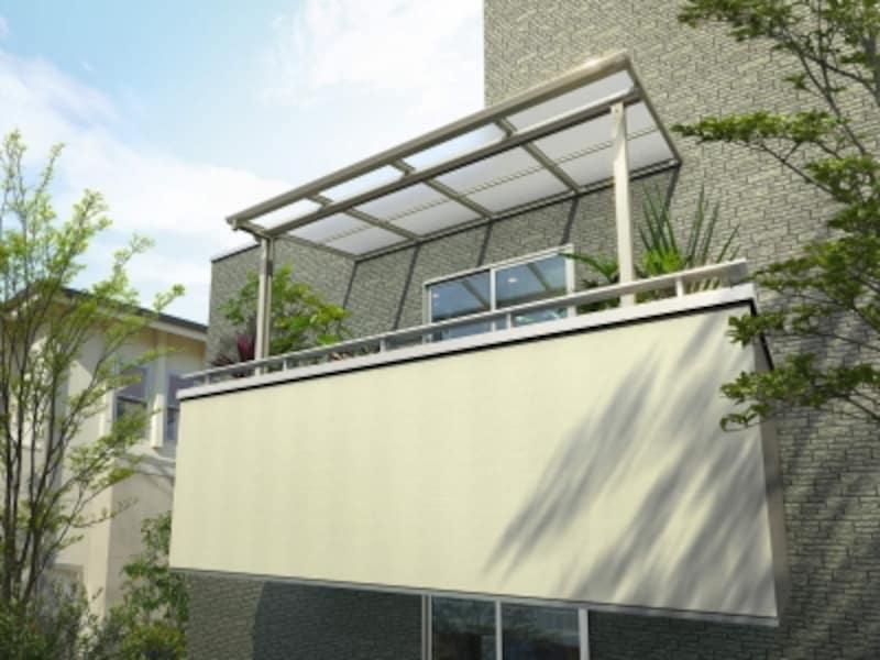 使い勝手や風の影響を受ける屋根の強度を配慮。出幅の大きいバルコニーにも対応できる。[躯体式バルコニー屋根ヴェクター柱奥行移動アール型H2トーメイマット]undefinedYKKAPundefinedhttp://www.ykkap.co.jp/