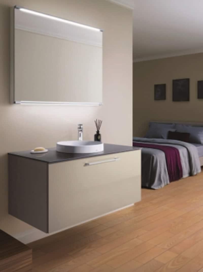 家具のようなデザインの洗面コーナーでくつろぎの時間を。[エスクア]undefinedTOTOhttp://www.toto.co.jp/