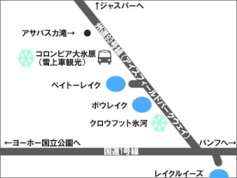 地図上では、主な観光ポイントのみを記載