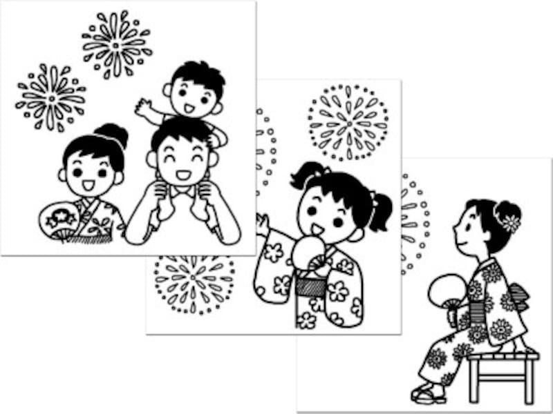 花火ぬりえ塗り絵無料ダウンロード 白黒イラスト素材