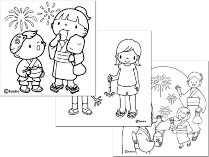花火ぬりえ塗り絵無料ダウンロード 子供と動物のイラスト屋さん
