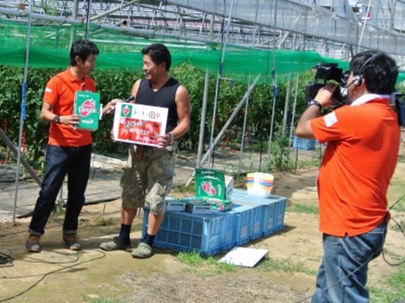 イベントの様子は北海道仁木町の契約農家、嶋田茂農園「匠」から生中継